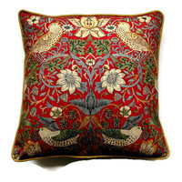 William Morris Strawberry Thief Arts and Crafts cushion, throw pillow, home decor. 18  x 18 ins, red, yellow, beige vintage fabric.