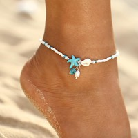 IF ME Fashion Bohemian Imitation pearls Starfish Charms Bracelets Anklets For Women Summer Foot Chain Shell Jewelry Gift
