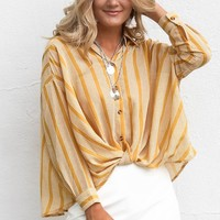 SZ L Next Weekend Mustard Front Knot Striped Top