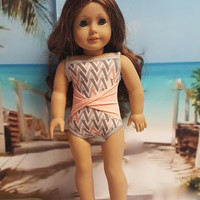 """Contemporary 18 inch doll clothes """"With a Twist of Peach"""" Will fit American Girl® Swimsuit bathing suit beach Liberty Jane Pattern H5"""