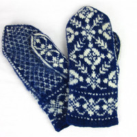 Vintage Norwegian Knitted Wool Mittens, Fair Isle, Thick and Warm, 1950s, 60s