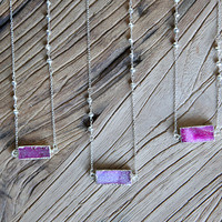 Crystal druzy and sterling silver bar necklace in dust pink and fuchsia