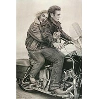 James Dean Marilyn Monroe Motorcycle Poster 24x36