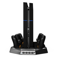 Vertical Dual Charging Dock Station Stand Base 3 USB HUB Port Cooling Fan Cooler for Sony Play Station 4 PS4 PSP Controller L3FE