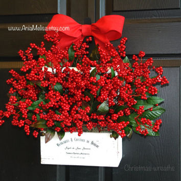Christmas wreath red berry berries Holidays wreaths front door decorations wreaths holly berry