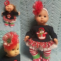 """15 inch Baby Doll Clothes handmade will fit Bitty Baby® fits Cabbage Patch® """"Frosty"""" doll outfit leggings headband Christmas Snowman  N6"""