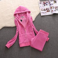 Juicy Couture Simple Pure Color Velour Tracksuit 611 2pcs Women Suits Pink