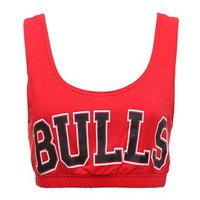 Forever Women's Celeb Miley Cyrus Inspired Bulls Print Sport Bra Crop Top Red 6-8