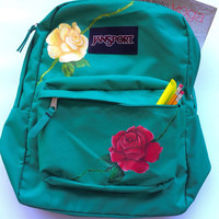 Hand Painted Roses Custom Jansport Backpack Bookbag Read to Ship