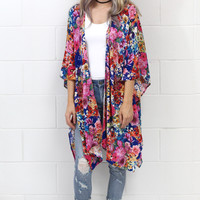 In Full Bloom Floral Side Splice Kimono {Navy Mix} EXTENDED SIZES
