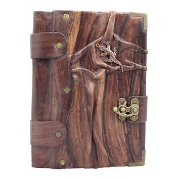 Lizard Cast On A Brown Leather Journal / Notebook / Diary / Sketchbook / Leatherbound