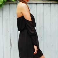 Black Chiffon Off the Shoulder Dress with Sheer Sleeves
