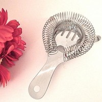 Cocktail Strainer Coiled Metal Home Bar Mixing Tool Vintage Hollywood Regency Beverage Serving Accessory Kitchen Gadget