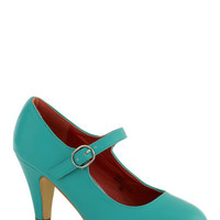 ModCloth Minimal Member of the Board Heel in Turquoise
