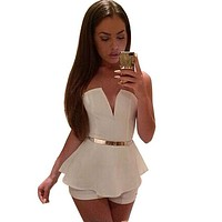 White Rompers Womens Jumpsuit 2015 Hot Sale Sexy Backless Bodysuits Fashion Lady Clubwear V-neck Sleeveless Overalls Playsuits