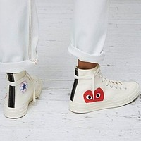 Converse Play Red Heart Fashion Canvas Flats Sneakers Sport Shoes High Tops White