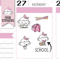 PIXIE - school stickers,school planner stickers,study stickers,book reading stickers,college stickers,cute stickers,kawaii stickers | A071