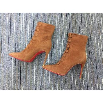 Christian Louboutin Cl Women Suede Ankle Boots Reference #19