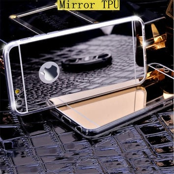 Luxury Mirror Electroplating Soft Clear TPU Silicon Case For iphone 6 6S 4.7 / 6 6S Plus 5.5 inch 5 5S Back Cover Phone Bag Case
