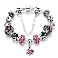 online shopping india silver-plated bracelets bangles Red fall heart pulseras mujer joias