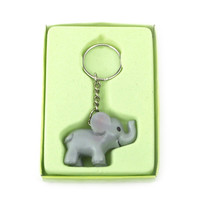 Safari Keychain Favors, 4-inch, Baby Elephant, Grey