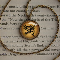 Handmade Dishonored logo emblem inspired glass cabochon dome pendant Necklace