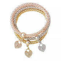 Heart Trio Bracelet Set