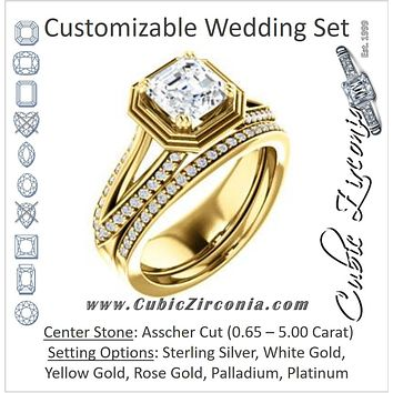 CZ Wedding Set, featuring The Reina engagement ring (Customizable Ridged-Bevel Surrounded Asscher Cut with 3-sided Split-Pavé Band)