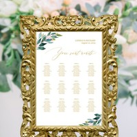 Greenery gold wedding seating chart template, Editable DIY seating chart, Instant download, Printable greenery wedding seating chart poster