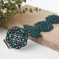 Green lace bracelet, green bracelet with red beads, cuff bracelet, wide bracelet, tatted bracelet, tatting lace jewelry.