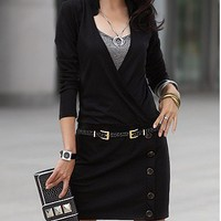 Elegant Wrapped V-neck OL Slim Fit Women's Long Sleeve Mini Dress Solid Buttons