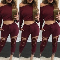 Solid Hole 2 Two Pieces Set Top and Pants Women Hollow Out Tracksuits Pockets Crop Tops Sexy Slim Suit Hoodies Sweatshirts -N