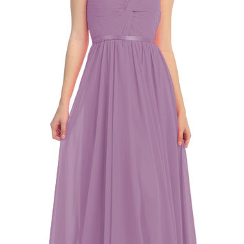 Sweetheart Neck Ruched Bodice Long A Line Victorian Lilac Gown