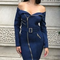 Off Shoulder Dark Denim Jacket Dress