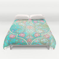 Floral Moroccan in Spring Pastels - Aqua, Pink, Mint & Peach Duvet Cover by Micklyn