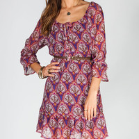 Lottie & Holly Paisley Womens Belted Peasant Dress Multi  In Sizes