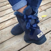 Ugg Fashion Winter Women Man Cute Bowknot Flat Warm Snow Ankle Boots