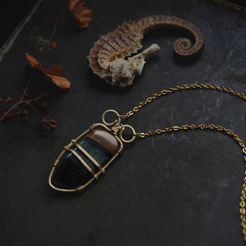 hawk's eye & tiger's eye necklace • blue tiger eye necklace - wrapped crystal necklace - witch jewelry - witchy necklace