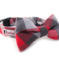 Plaid Flannel Dog Collar Red, Light and Dark Grey (Collar Only - Matching Bow Tie Available Separately)