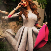Grey Pleated Skater Dress