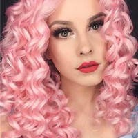 20 Inch Pink Curly Synthetic Lace Front Wig