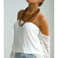 Perfection Lace Off Shoulder Top - White