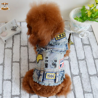 2015 Retro Denim Dog Jacket Clothing Personalized Pet Puppy Cat Thicken Jeans Winter Vest Dog Clothes for Chihuahua Teddy Poodle