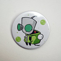 """Invader Zim - GIR with dog suit 1x1.5"""" pinback button badge from Stickerama"""