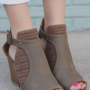 Tempting Fate Booties - Taupe
