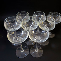 8 Aperitif Glasses Crystal Wheel Cut Stemware Set Liquor or Sherry Glasses Hand Cut and Polished Crystal Stemware  Set of Eight