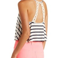 Crochet Back Striped Crop Top by Charlotte Russe - Navy Combo
