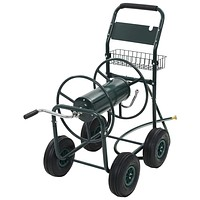 """Garden Hose Trolley with 1/2"""" Hose Connector 246ft Steel"""
