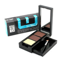 Professional Eye Shadow Eye Brow Makeup 2 Color Waterproof Eyebrow Powder + Eyebrow Wax Palette + Brush