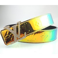 LV Fashion fashion high-end personality reflective belt diamond buckle belt lady